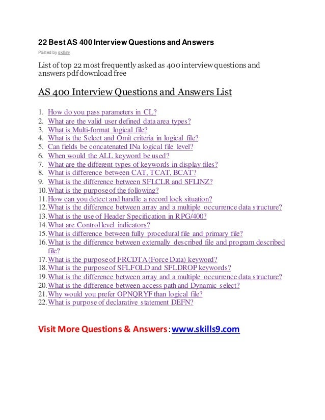 Scenario interview questions and answers pdf