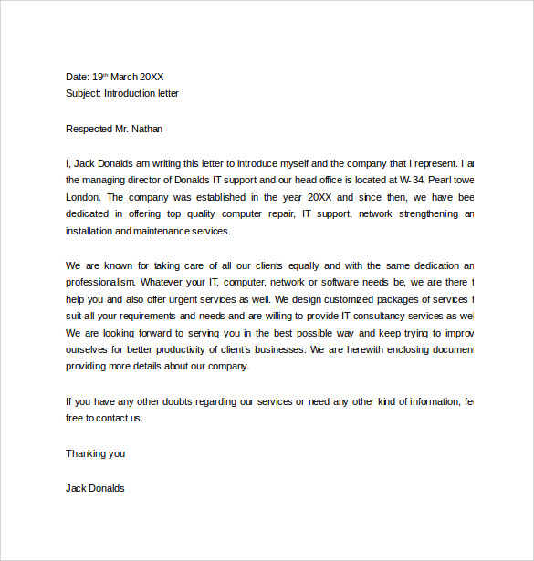 Letter of introduction template pdf