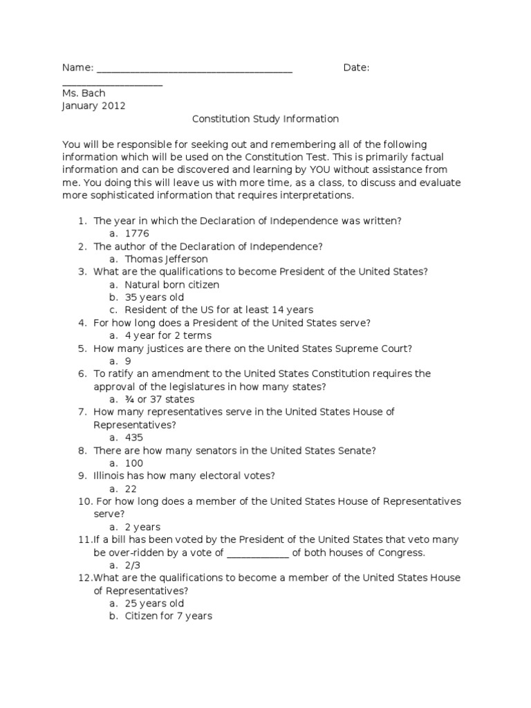 Us constitution study guide answers