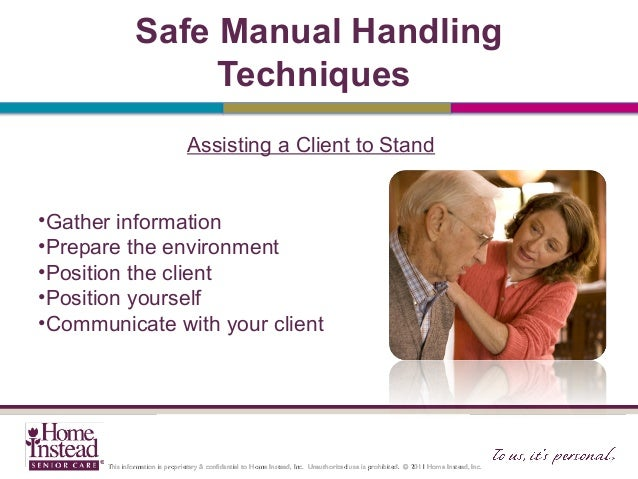 basic manual handling skills client handling standing from chair